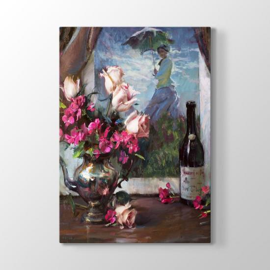 Çiçek ve Şarap Tablosu