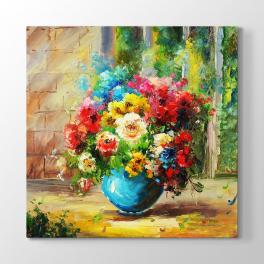 Renkli Yağlıboya Çiçekler Tablosu