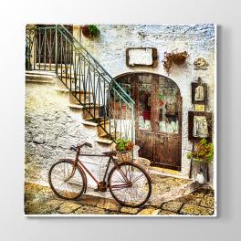 Eski Bisiklet ve Merdivenler Tablosu