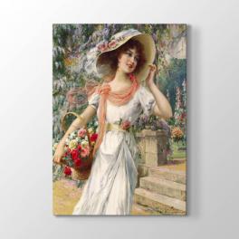 Emile Vernon - Çiçekli Kız Tablosu