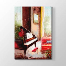 Piyano ve Kırmızı Sandalye Tablosu