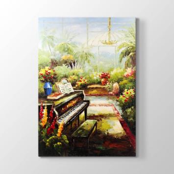 Piyano ve Çiçekli Bahçe Tablosu