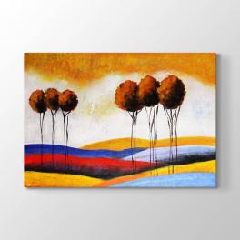 Modern Çizim Ağaçlar Tablosu