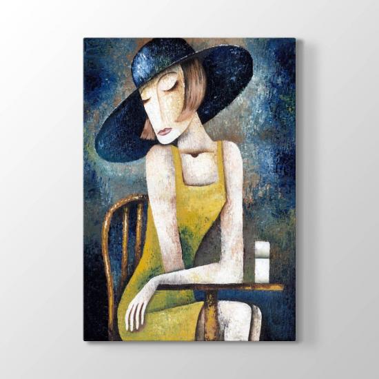 Modern Çizim Kübist Kadın Tablosu