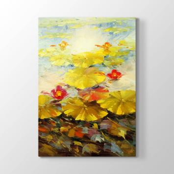 Sarı Soyut Çiçekler Tablosu