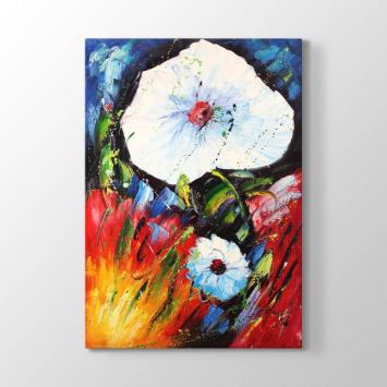 Sanatsal Beyaz Çiçek Tablosu
