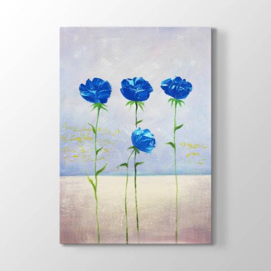 Mavi - Turkuaz Çiçekler Tablosu
