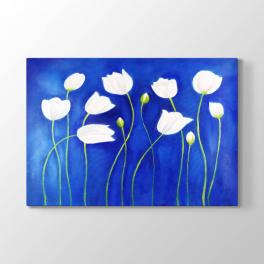 Mavi Zemin Beyaz Çiçekler Tablosu