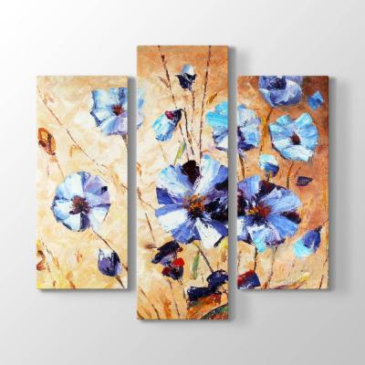 Turkuaz Yapraklı Çiçekler Tablosu