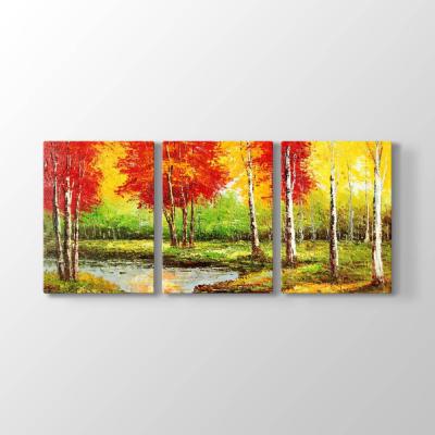 Kırmızı Ağaçlar Doğa Tablosu