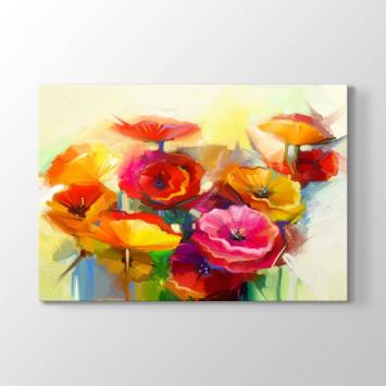 Renkli Soyut Çiçekler Tablosu