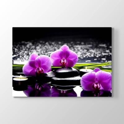 Lila Orkide ve Mumlar Tablosu