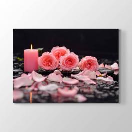 Pembe Güller ve Mum Tablosu