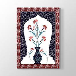 Osmanlı Motif Vazodaki Çiçekler Tablosu